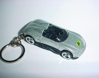 3D Racer custom keychain by Brian Thornton keyring key chain finished in silver/grey racing trim race bling