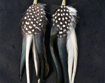 Feather Earrings,black and white