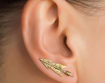 Gold ear crawler. gold ear climber. triangle ear climber. ear crawler earrings. climbing earring. triangular ear crawler