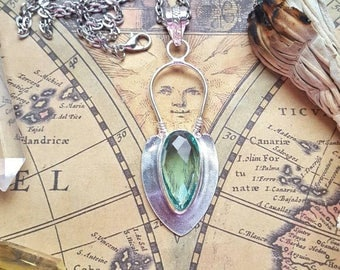 Sterling silver green amethyst crystal, green amethyst crystal