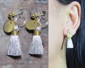 Metallic Silver Thread Mini Tassel Clip-On Earrings |33F| Gold Coin Disc Long Dangle Clip On Earring Non Pierced Invisible Clip-ons Earrings