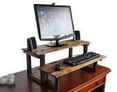 Standing Computer Desk, Recycled Oak and Pine, Convert Any Desk Or Table To Stand Up Wood Desk, Dark Walnut Finish Color - Free Shipping