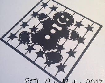 Gingerbread Man Christmas Card  Paper Cutting Template - Commercial Use