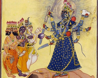 Poster, Many Sizes Available; Goddess Bhadrakali Worshipped By The Gods- From A Tantric Devi Series