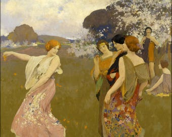Poster, Many Sizes Available; Arthur F. Mathews - Spring Dance -