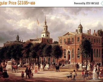 40% OFF SALE Poster, Many Sizes Available; Independence Hall In Philadelphia By Ferdinand Richardt, 1858-63