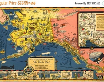 20% Off Sale - Poster, Many Sizes Available; Map Of Alaska Steamship Line 1934
