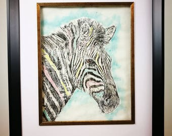 Print of an original dry point etching of a zebra.
