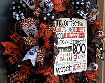 Halloween Wreath, Halloween Decor, Halloween Wreaths for Front Door, Deco Mesh Halloween Wreath, Mesh Halloween Wreath, Halloween Decoration