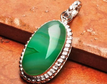 """Hand Made Natural 2"""" Green Botswana Agate Gemstone  925 STERLING SILVER"""