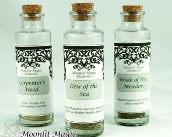 Witch's Cabinet/ Folk Name Herbs/ Witch Herb Bottles
