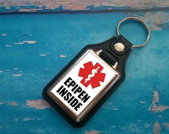 Silver Plated Keyring - Key Ring - Key Chain - Allergic - Danger - EpiPen Inside - Severe Allergy - Medical Awareness Alert