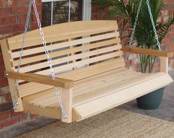 Brand New 6 Foot Cedar Wood American Style Porch Swing with Hanging Chain - Free Shipping