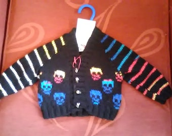 Hand knitted Skull themed cardigan to fit a baby boy aged 0-3 months old