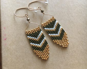 24 kt. Gold and Hunter green Peyote stitch earrings with Swarovski Crystals on 14 kt. Gold Filled Ear Wires// Peyote Stitch// christmas gift
