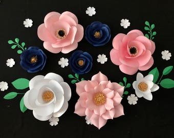 Paper Flower Backdrop Wall, Paper Flower Wall, Pink Flower Backdrop, Navy Blue Backdrop, Pink White Baby Shower, Pink and Gold Nursery