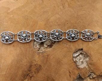 Antique Silver Rose Chain Bracelet - Art Nouveau - 1910