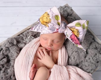 VINTAGE PINK FLORAL Gorgeous Wrap- headwrap; fabric head wrap; floral head wrap; boho; newborn headband; baby headband; toddler headband