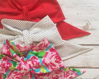 Gorgeous Wrap Trio (3 Gorgeous Wraps)- Candy Apple, Dottie & Rosie Gorgeous Wraps; headwraps; fabric head wraps; bows