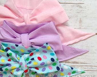 Gorgeous Wrap Trio (3 Gorgeous Wraps)- Pink, Light Lavender & Jelly Bean Gorgeous Wraps; headwraps; fabric head wraps; bows
