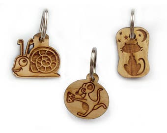 Wooden cat dog id tag/ Custom engraved pet id tag/cute cat snail mouse tag