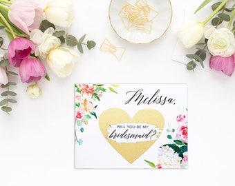 Bridesmaid Proposal, Maid of Honor Proposal, Scratch Off Card, Will you be my bridesmaid, Will you be my maid of honor, Wedding Card