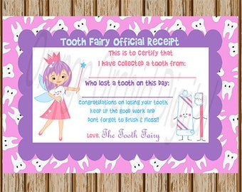 INSTANT DOWNLOAD- Tooth Fairy Receipt- Blank Tooth Fairy Card- Tooth Fairy Certificate- Tooth Fairy Keepsake- Print Your Own- Digital Image
