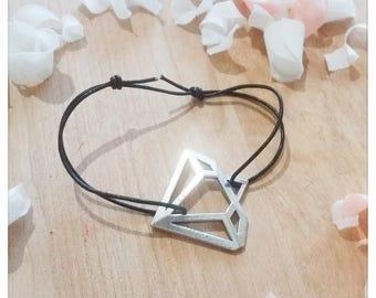 Black leather and diamond bracelet