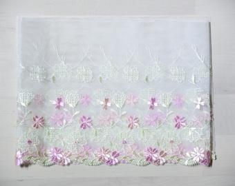 """soft lace Fabric one yard  white pink  7"""""""