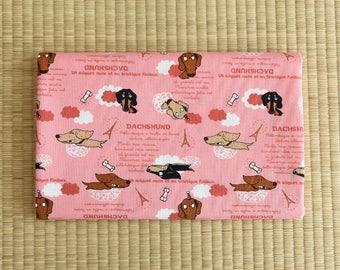 cute funny dachshund Fabric 1/2 yard pink
