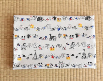japanese cat mouse fabric for 1/2 yard