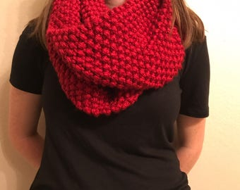 Knit Red Infinity Scarf