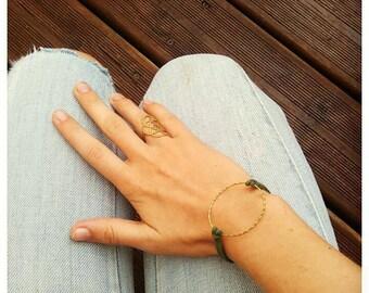 Bracelet boho chic ring gold