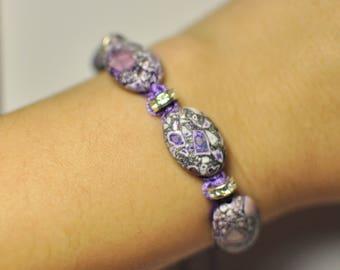 Chakra Macramé Shamballa Bracelet Handmade Adornment with Natural Turquenite Gemstone Pressed in Rock Bracelet 15 cm, 5 Beads 18x13x4 mm.