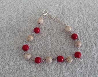 Red and White Pearl bracelet