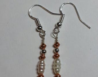 Pearl & Copper, Sterling Silver earrings