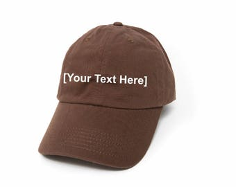 Custom Dad Hat, Custom Baseball Caps, Dad Hat Custom, Embroidered Baseball Cap, Adjustable Strap Back Baseball Cap, Low Profile, Brown