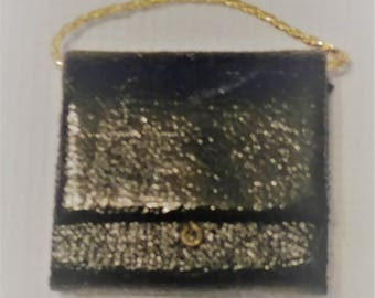 1:12 Miniature Black Patent Handbag. Black Purse