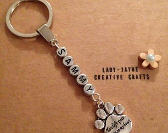 Personalised pet themed keyring. In loving memory of a special dog/cat. You left paw prints on my heart keyring. Remembering a special pet.