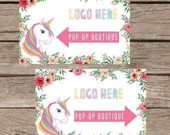 PRINTABLE Yard Sign Pop Up Boutique Banner, Advertising Home Office Approved Colors Cards, Unicorn and Flowers, Instant Download LLR030