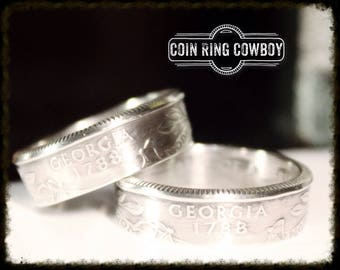 SILVER State Quarter Coin Ring Set