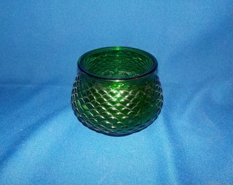 Classic Glass Planter, Forest Green, Fish Scale Pattern