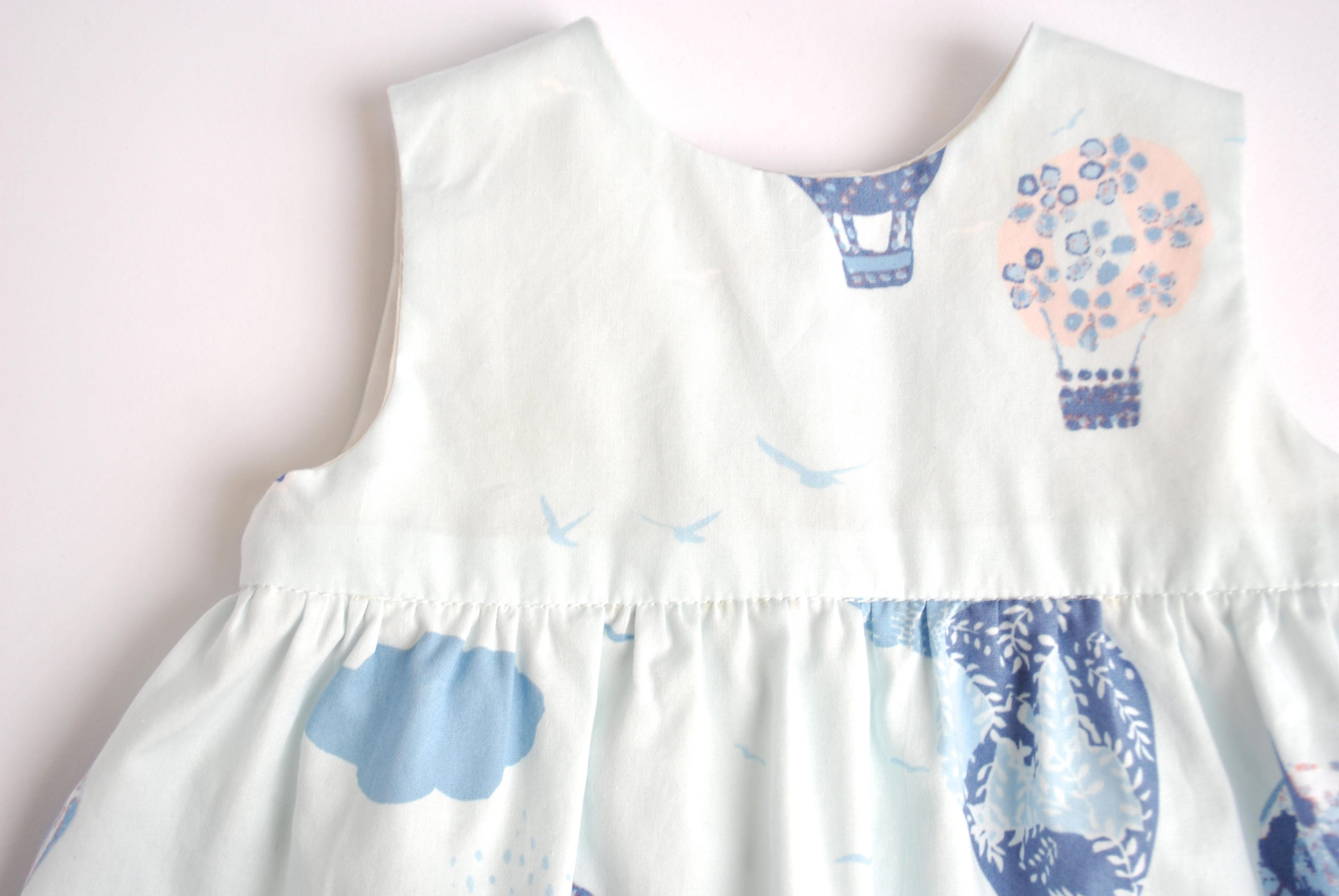 Blue Baby Dress Girls Dress Hot Air Balloon Print Newborn to 2