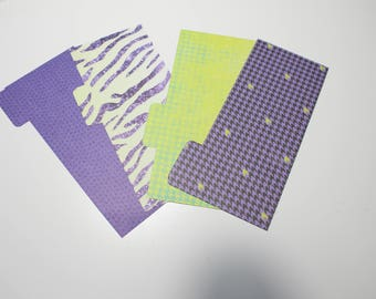Wallet Dividers for Cash envelope system like Dave Ramsey Purple and Green