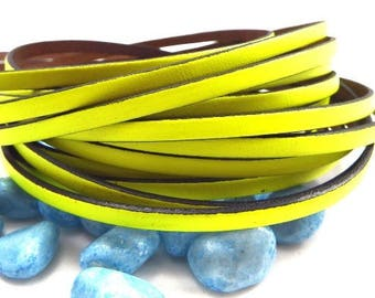 borders neon yellow flat leather black 5mm by 20 cm