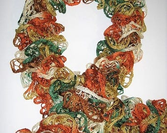 Shades of fall-colored ruffle scarf tie