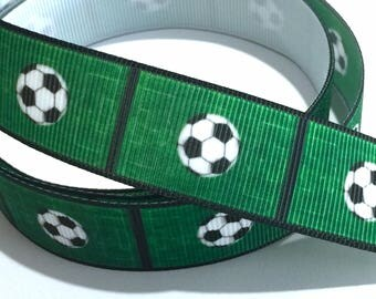 7/8 inch Soccer Ball Field Green Black Trim Printed Grosgrain Ribbon for Hair Bow  Sports - Original Design
