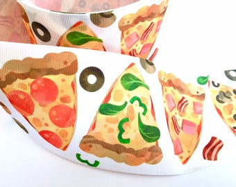 3 inch PIZZA I love Pizza Pepperoni Food Mushroom Printed Grosgrain Ribbon Cheer Hair Bow - 3""