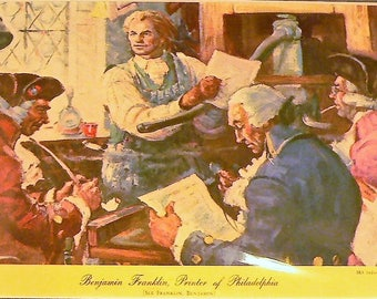 1951 Benjamin Franklin Printer of Philadelphia Matted Vintage Print