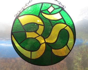 Om Yoga Stained Glass Suncatcher